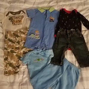 Lot of dinosaur themed 0-3 month boy clothes